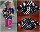 "Babystyle Boutique THE LULU ""Swing Time"" Navy & White Polka Dot Fall Jacket $60"
