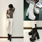 Hot Fashion Womens block chunky Heel pump round toes zipper Ankle combat boots