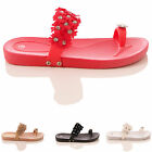 LADIES FOOTBED MULE SANDALS TOEPOST HOLIDAY BEACH SUMMER FLOWER SHOES SIZE