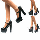 WOMENS CHUNKY CLEATED SOLE MARY JANE PLATFORM BLOCK HIGH HEEL GOTH COURT SHOES