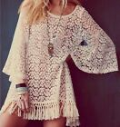 Vintage Hippie Boho Bell Sleeves Gypsy Festival Fringe Sexy Lace Mini Dress Tops