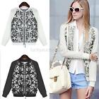 Fashion Women Long Sleeve Embroidery Stitching Casual Tops Blouse Jacket Coat