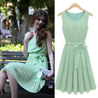 New Women Pleated Chiffon Bow Belt Sleeveless Skirt Vest Casual Cocktail Dress