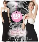 BNWT MINNIE Black & White Strapless Full Length Evening Ballgown Dress UK 8 -14