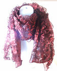 LADIES POP OUT  MAROON LAYERED SCARF BRAND NEW UNIQUE WINTER WEAR (MZ9)