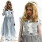 Ladies White Zombie Corpse Bride Halloween Fancy Dress Costume Outfit Sizes 8-30