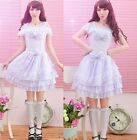 Sweet GOTHIC PUNK LOLITA ALICE BOWS OPEN SHOULDER DRESS Onepiece S-L 81140 White