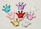 "U PICK~ 1-7/8"" Sequin Crown Appliques Headbands Hair Clippies Trims x 50 #2556"
