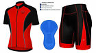Mens Cycling Jersey Half Sleeve Top Racing Team Biking Top & Bib shorts set