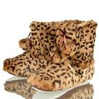 WOMENS LADIES DUNLOP SLIPPER BOOTS LE0PORD GIRLS  COSY FUR LINED ANKLE BOOTIES