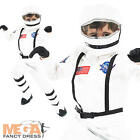 Astronaut Boys Costume + Helmet White Space Suit Kids Fancy Dress Childs Outfit