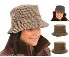 NEW MENS WOMENS LADIES UNISEX WARM BUSH TWEED HERRINGBONE REVERSIBLE COUNTRY HAT