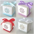 12 Snowflake Christmas Table Wedding Favour Boxes & Ribbon, 4 colours FBX2