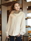 Women's Fashion Loose Fit Bat Sleeves Sweater Faux Fur Hoodie Korean Japanese