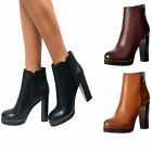 WOMENS HIGH BLOCK HEEL CLEATED PLATFORM ANKLE CHELSEA BOOTS ZIP UP SHOES SIZE