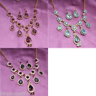 Sparkling Crystal Rhinestone Necklace Set With Earrings For Women Bride Wedding