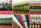 christmas fabric pack fat quarters 100 % cotton red green ivory craft fabric