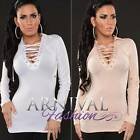 NEW SEXY WOMEN'S DESIGNER lace up TOP 8 10 12 LADIES PARTY SHIRT CLUBWEAR S M L