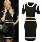 Women's Celebrity Short Sleeve Cocktail Evening Party Bodycon Pencil Midi Dress