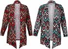 Womens New Aztec Printed Ladies Stretch Long Sleeve Open Cardigan Top Plus Size