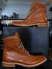 Mens Lacuzzo Stylish Dress Casual Leather Designer Winter Boots Lace Up In Brown