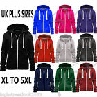 Ladies Plain Hoody Girls Zip Top Womens Hoodies Sweatshirt Jacket Plus Size 6-22