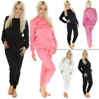 New Womens Ladies Plain Gym Sweatshirt Tracksuit Jumper Top Size S M 8 10 12 14