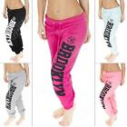 New Ladies Quilted Brooklyn 76 New York Print Joggers Trousers Bottoms 8 10 14 S