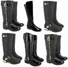 LADIES WOMENS BLACK PATENT FLAT RIDING CASUAL KNEE HIGH BOOTS SIZE UK 3-8 SALE!!