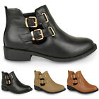 WOMENS NEW CHELSEA CUT OUT BUCKLE BOOTS LADIES LOW BLOCK HEEL ANKLE SHOES SIZE