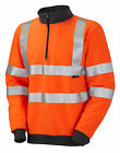 HI VIS VIZ ORANGE  1/4 ZIP SWEATSHIRT GO/RT
