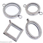 1PC Living Locket Fit Floating Charms Magnetic Czech rhinestone Silver Tone