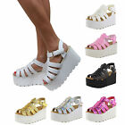 WOMENS CLEATED CHUNKY SOLE STRAPPY PLATFORM SANDALS WEDGES FLATFORM SHOES SIZE