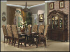 Formal Dining Set European Design Cherry Brown Leather with Fabric table chair