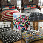 NEW YORK ROUTE 66 AMERICAN FLAG ICONS REVERSIBLE QUILT DUVET COVER BEDDING SET