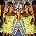 Sexy Women Ladies Off Shoulder Floral Lace Yellow Bodycon Party Mini Flare Dress