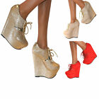WOMENS GLITTER WEDGE HIGH HEEL LACE UP PLATFORM ANKLE BOOTS TRAINERS SHOES SIZE