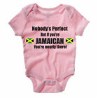 NOBODY'S PERFECT BUT IF YOU'RE JAMAICAN - Jamaica / Fun Themed Baby Grow/Suit