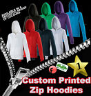 Custom Printed Personalised Zip Hoodie - Design your own - Add Your Text or Logo