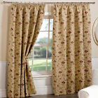 Heavy Weight Traditional Vintage Tapestry Lined Curtains and Tiebacks, Gold