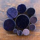 """Pair of Blue Goldstone - Sandstone Stone Plugs Double Flared  8g to 1"""" -13 sizes"""