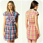 Boohoo Womens Check Print Shirt Dress S UK8 US4 EU36 Blue / Pink