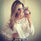 Ladies Womens Celeb Tops Lace Crochet Long Sleeve Shirt Casual Blouse UK 8-12