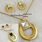 Gold Stainless Steel Crystal Classic Circle Pendant Necklace+Earring Jewelry Set
