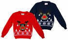 Boys & Girls Cute Rudolph Red Nose Reindeer Knitted Christmas Jumper 3-13 yr NEW