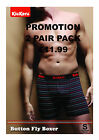 2 Pairs Mens Kickers RED PINSTRIPE Striped Boxer Shorts