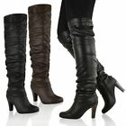 LADIES WOMENS OVER THE KNEE THIGH HIGH BLOCK CHUNKY MID HEEL RIDING BOOTS SHOES