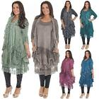 Italian Style Lagenlook Quirky 3 Layer Tunic Womens Top Ladies Dress - One Size