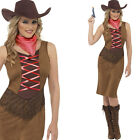 Women's Cowgirl Fancy Dress Costume – Wild West Cowboys Dress + Bandana + Hat