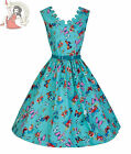 LINDY BOP 50's style DARIA BUTTERFLY FLORAL DRESS TURQUOISE